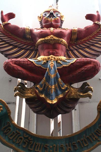 Garuda sculpture outside a bank, Bangkok, Thailand