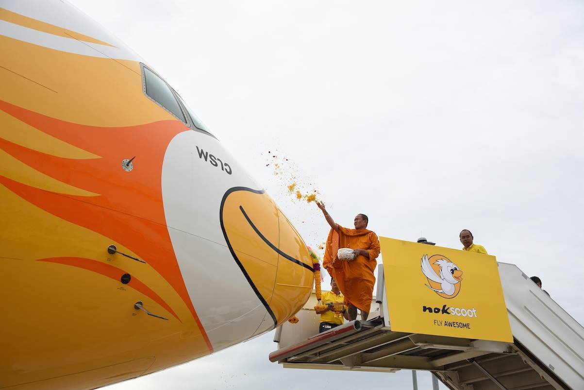 NokScoot airline's new Boeing 777-200 anointing ceremony